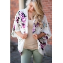 Collarless Floral Printed Half Sleeve Tunic Kimono