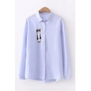 Cute Cartoon Cat Embroidered Lapel Collar Long Sleeve Button Front Shirt