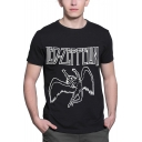 Rock Band Letter Angel Print Men's Short Sleeve Black Graphic T-Shirt