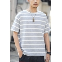 Classic Striped Printed Summer Loose Casual Relaxed T-Shirt