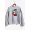 Popular Stranger Things Shadow Printed Mock Neck Long Sleeve Loose Fit Sweatshirt