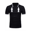 New Stylish Contrast Tipped Collar Short Sleeve Cool Fake Tie Printed Men's Slim Fitted Polo Shirt