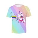 Summer Funny Cute Cartoon Unicorn Pattern Short Sleeve Stripe Fitted T-Shirt