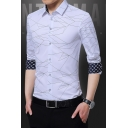 New Arrival Fashion Printed Men's Long Sleeve Slim Button-Up Dress Shirt