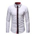 Fashion Contrast Trim Collar Unique Patched Placket Long Sleeve Slim Button-Up Shirt for Men