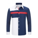 Fashion Colorblock Patched Long Sleeve Spread Collar Fitted Button-Up Shirt for Men