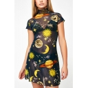 New Trendy Fashion Galaxy Moon Star Print High Neck Short Sleeve Mini Mesh Sheath Dress