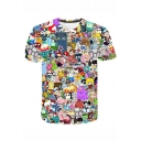 Fashion 3D Comic Character Print Short Sleeve Casual Tee