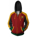 Cool 3D Pattern Cosplay Costume Fitted Full Zip Red Hoodie