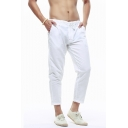 Mens Simple Plain Drawstring Waist Casual Linen Cropped Pants
