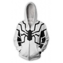 Cool 3D Printing Long Sleeve Zip-Up White Casual Relaxed Hoodie
