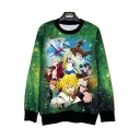 The Seven Deadly Sins Comic Character Pattern Basic Round Neck Loose Fit Sweatshirt