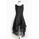 Round Neck Sleeveless Womens Chic Lace Organza Dipped Hem Midi Flared Dress for Party