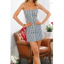 Retro Plaid Spaghetti Straps Sleeveless Button Front Hollow Out Back Mini Cami Dress