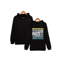 Boy Group Fashion Letter Printed Zip-Front Long Sleeve Fitted Unisex Hoodie