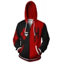Cool Clown Print Long Sleeve Colorblock Casual Black And Red Zip Up Hoodie
