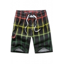Cool Men's Plaid Printed Drawstring Waist Casual Loose Sports Swimming Trunks