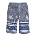 Fashion Blue Five-Pointed Star Mens Summer Beach Swim Trunks with Drawstring and Pockets