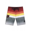 Summer Fast Drying Striped Patchwork Casual Loose Male Beach Swimwear Shorts