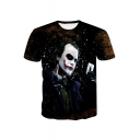 Stylish 3D Poker Clown Printed Short Sleeve Regular-Fit Tee
