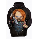 Bride of Chucky Classic Film Figure Printed Long Sleeve Relaxed Fit Grey Hoodie