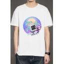 Vaporwave Aesthetic Cartoon TV Pattern Basic Short Sleeve Casual White T-Shirt