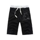 Totoro Comic Pattern Drawstring Waist Sport Loose Cotton Beach Sweat Shorts