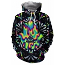 Fashion Trippy Hamsa Geometric Pattern 3D Eye Printed Black Men's Hoodie