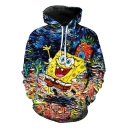 SquarePants New Stylish 3D Oil Painting Loose Fit Drawstring Hoodie