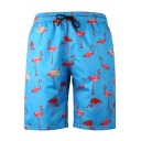 Summer New Stylish Flamingo Printed Drawstring Waist Beach Swim Shorts for Guys