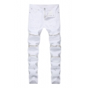 Guys Cool Zipper Embellished Night Club Distressed Ripped Skinny Fit Jeans