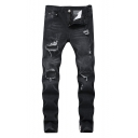 Guys Street Style Washed Side Zip Embellished Slim Fit Ripped Jeans