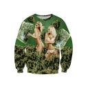 Bikini Beauty Girl with Pillow Fashion 3D Print Round Neck Long Sleeve Green Sweatshirt