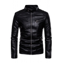 Trendy Stand Collar Long Sleeve Black Zip Placket Men's PU Moto Jacket