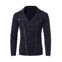 Casual Plain Double Zip Closure Long Sleeve Notched Lapel Collar Slim Sweatshirt Jacket