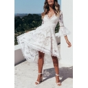 New Stylish White V-Neck Flared Sleeve Midi Lace Asymmetrical Dress
