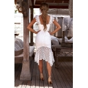 Sexy Hot Style White Sleeveless Hollow Out Beach Lace Midi Bodycon Dress