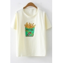 Fashion Short Sleeve French Fries Print Round Neck Cotton Loose Fit T-Shirt