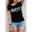Summer Simple Letter RIOT Pattern Basic Round Neck Short Sleeve Streetwear T-Shirt
