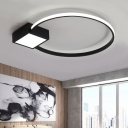 Square and Ring Ceiling Lamp Simple Concise LED Flush Light Fixture with Acrylic Shade for Corridor