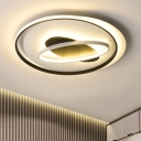 Nordic Style Black Ring Ceiling Fixture Metallic LED Flush Mount Lighting for Study Room Bedroom