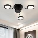 3 Heads Round Disc Ceiling Lamp Metallic Art Deco LED Semi Flush Light Fixture in Black/White
