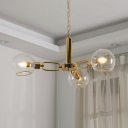 Ball Shade Hanging Light Modern Fashion Open Glass 3/6/8 Lights Suspended Light in Polished Gold