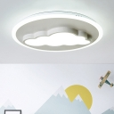 Cute Metallic LED Flush Mount with Cloud Shape Modern White Flush Ceiling Light for Nursing Room