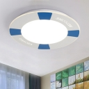 Eye Protection Lifebuoy Flush Light Contemporary Blue/Red Acrylic LED Ceiling Lamp for Children Room