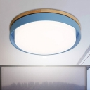 Minimalist Circular Ceiling Lamp Blue/White/Yellow Metal LED Flush Light Fixture for Corridor Bedroom