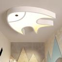 Contemporary Fish Flush Light Fixture White Metallic LED Ceiling Lamp for Children Room Kindergarten