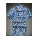 New Stylish Ethnic Printed Men's Quick Dry Casual Short Sleeve Holiday Shirt