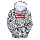 StreetCan Merch New Fashion 3D Printed Long Sleeve Pullover Casual White Hoodie