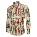 Ethnic Style Indian Figure Printed Men's Slim Fitted Long Sleeve Khaki Button-Up Shirt